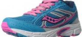 Saucony Girls Cohesion 7 Lace Running Shoe (Little Kid/Big Kid),Blue/Pink/Silver,3.5 M US Big Kid