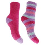 Childrens/Kids Girls Supersoft Socks With Grippers (Pack Of 2) Featured